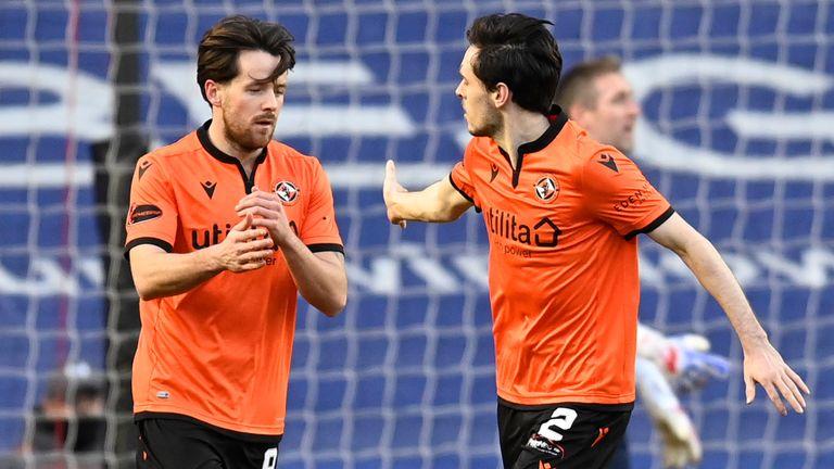 Dundee United's Marc McNulty (left) celebrates his goal against Rangers