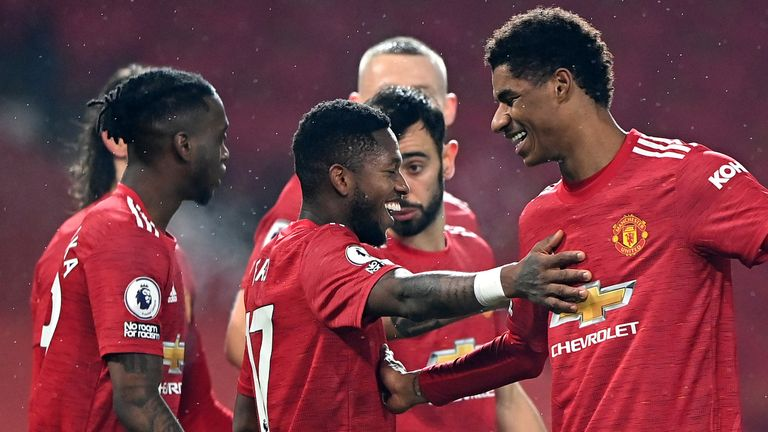Marcus Rashford celebrates with his team-mates after scoring the third goal in Manchester United's 9-0 hammering of Southampton