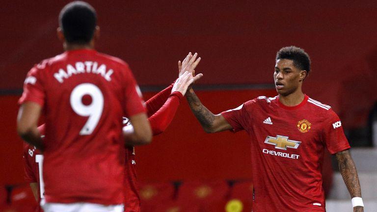 Marcus Rashford celebrates putting Manchester United ahead against Newcastle