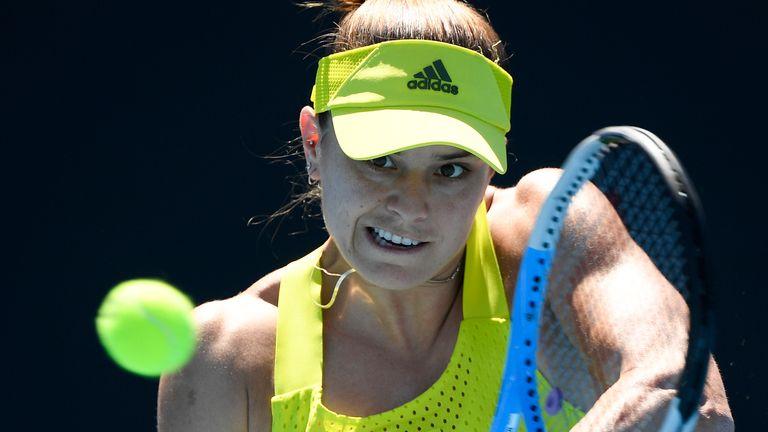 Maria Sakkari was beaten in three sets by Kristina Mladenovic