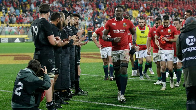 Itoje is clapped from the field by the All Blacks after the second rugby test in Wellington where the Lions won 24-21