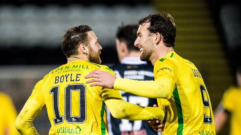 Martin Boyle (left) scored Hibs' second goal from the penalty spot