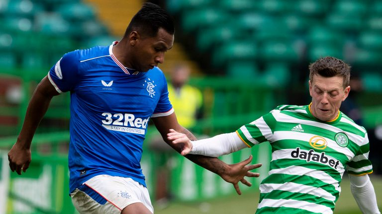 GLASGOW, SCOTLAND - OCTOBER 17: Alfredo Morelos and Callum Mcgregor in action during a Scottish Premiership match between Celtic and Rangers at Celtic Park, on October 17, 2020, in Glasgow, Scotland. (Photo by Alan Harvey / SNS Group)