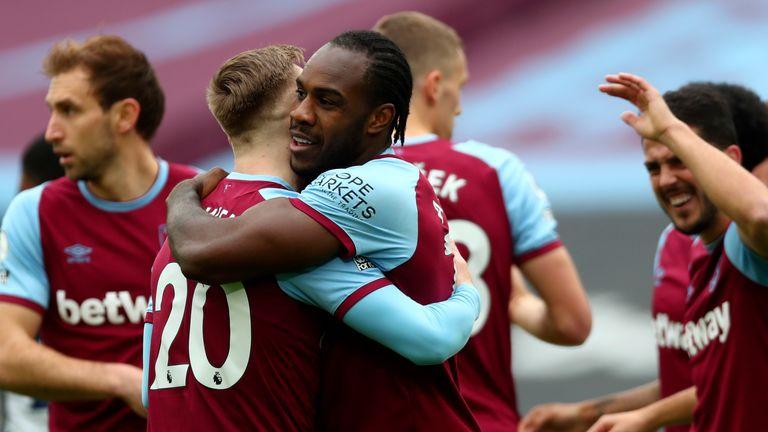Michail Antonio celebrates his early goal (AP)