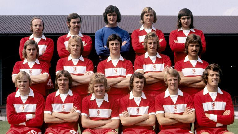 Former Middlesbrough players Nobby Stiles (back row, far left), Bill Gates (back row, second on right) and Willie Maddren (front row, far right) have all suffered with dementia.