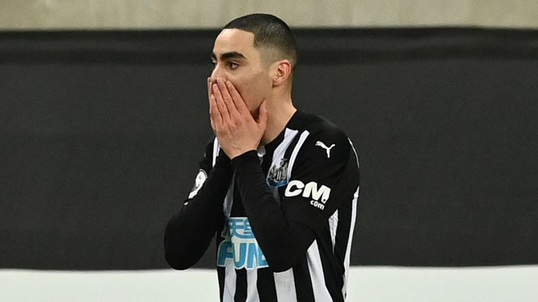 Miguel Almiron of Newcastle United reacted after a missed opportunity