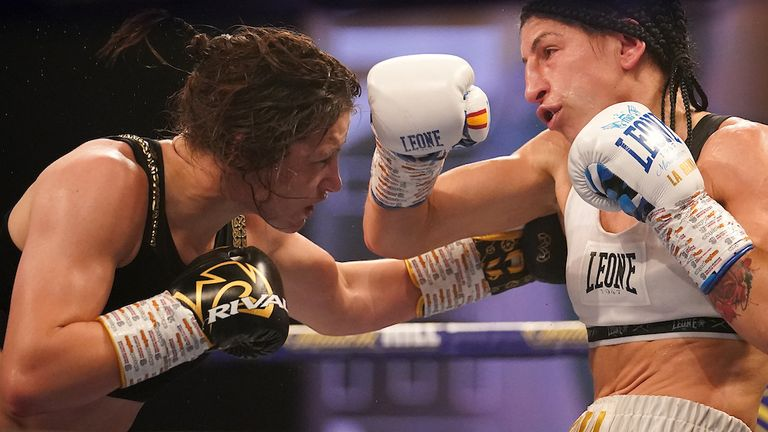 HANDOUT PICTURE COMPLIMENTS OF MATCHROOM BOXING.Katie Taylor vs Miriam Gutierrez, WBC, WBA, IBF and WBO Lightweight World Title..14 November 2020.Picture By Dave Thompson.