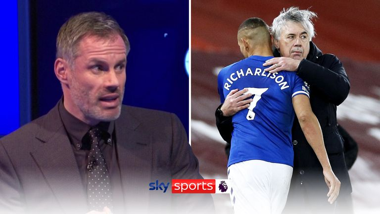 MNF: Jamie Carragher says Carlo Ancelotti was his man of the match in the Merseyside derby.