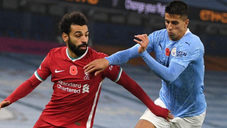 Mohamed Salah battles for the ball against Joao Cancelo