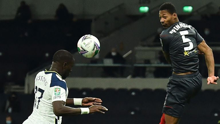 Moussa Sissoko scores the opening goal in the Carabao Cup semi-final against Brentford