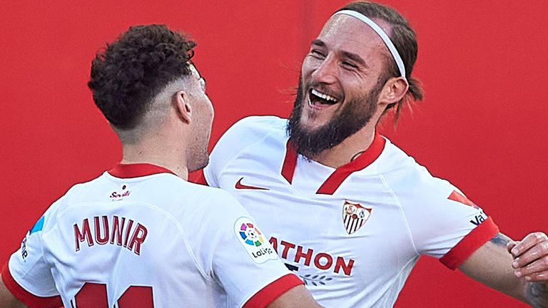 Munir El Haddadi (left) scored the winning goal for Sevilla
