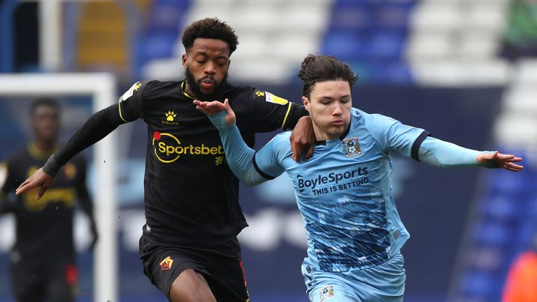 Watford's Nathaniel Chalobah and Coventry City's Callum O'Hare battle for the ball