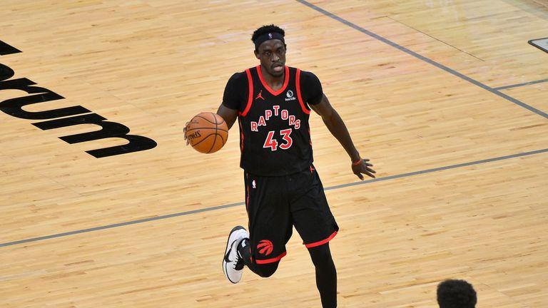 Toronto Raptors forward Pascal Siakam (43) handles the ball in the second half of an NBA basketball game against the Memphis Grizzlies Monday, Feb. 8, 2021, in Memphis, Tenn. (AP Photo/Brandon Dill)