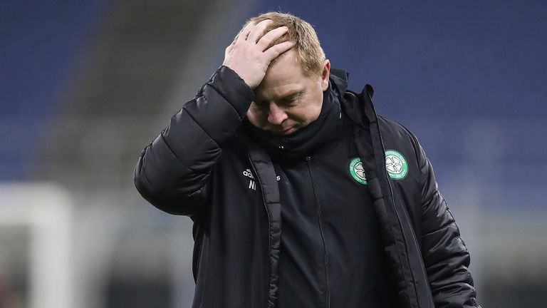 December 3, 2020, Milan, United Kingdom: Neil Lennon Head coach of Celtic rubs his head during the UEFA Europa League match at Giuseppe Meazza, Milan
