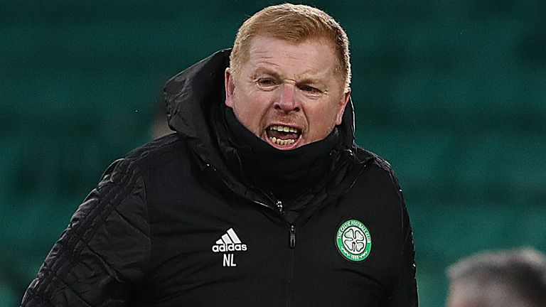 GLASGOW, SCOTLAND - FEBRUARY 06: Neil Lennon, Manager of Celtic reacts during the Ladbrokes Scottish Premiership match between Celtic and Motherwell at Celtic Park on February 06, 2021 in Glasgow, Scotland. Sporting stadiums around the UK remain under strict restrictions due to the Coronavirus Pandemic as Government social distancing laws prohibit fans inside venues resulting in games being played behind closed doors. (Photo by Ian MacNicol/Getty Images)