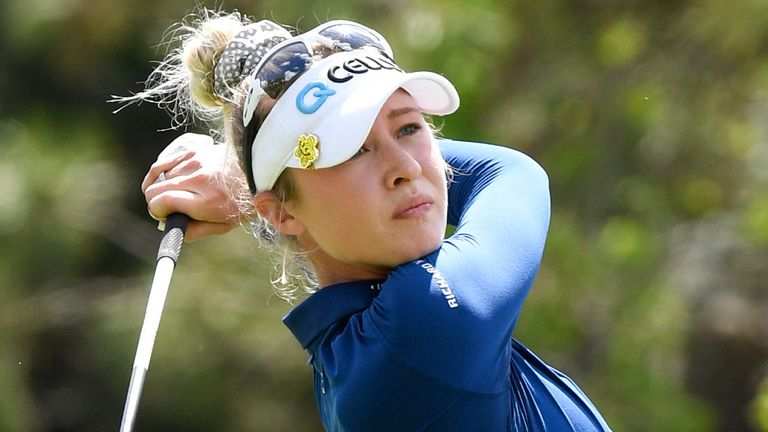 Nelly Korda plays a tee shot on the ninth hole during the third round of the Gainbridge LPGA golf tournament