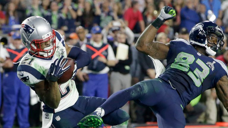 Patriots cornerback Malcolm Butler intercepts a pass intended for Seahawks receiver Ricardo Lockette on the goal line to end Super Bowl XLIX