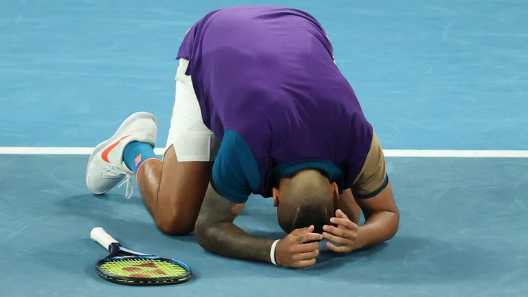 Kyrgios is playing without a coach at his home Grand Slam