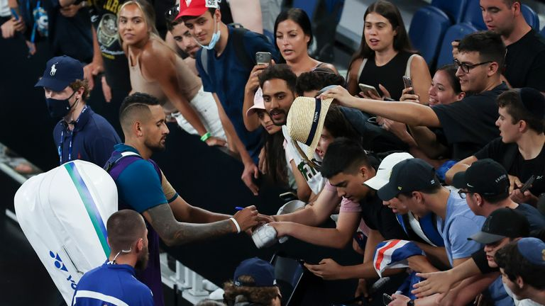 Nick Kyrgios was roared on by the crowd present on the John Cain Arena