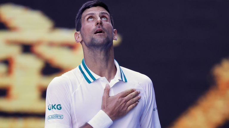 Novak Djokovic served up 26 aces during his four-set victory against Frances Tiafoe at the Australian Open