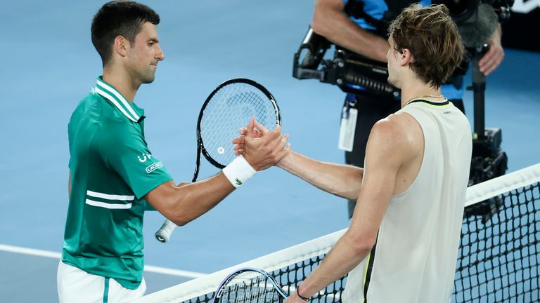 Djokovic (left) is congratulated on his win by Zverev