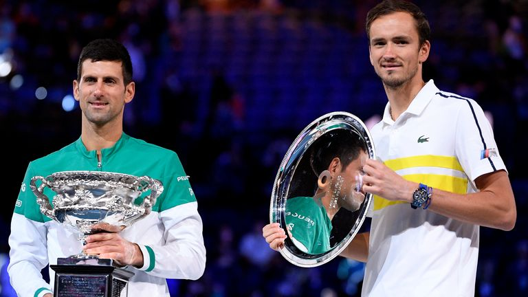 Djokovic (left) said Medvedev was a 'class act' following the Russian's kind words to his winning opponent