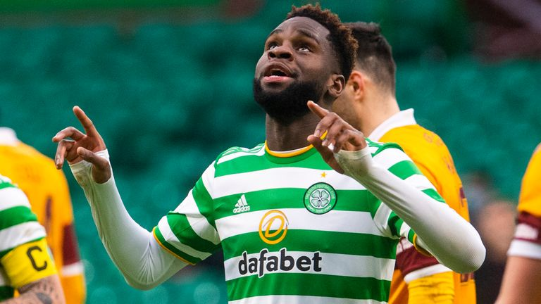 Odsonne Edouard celebrates after scoring to make it 2-0 Celticduring the Scottish Premiership match between Celtic and Motherwell at Celtic Park