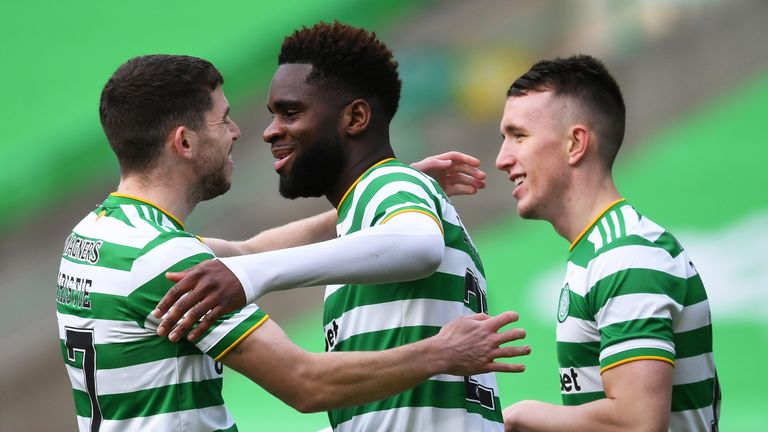 Odsonne Edouard celebrates with Ryan Christie after scoring to make it 1-0
