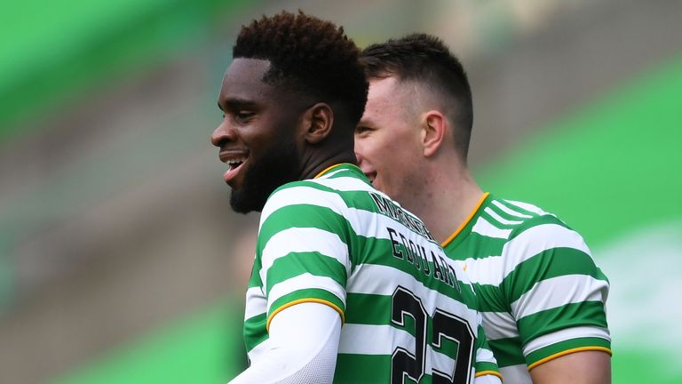 GLASGOW, SCOTLAND - FEBRUARY 27:  Celtic...s Odsonne Edouard celebrates after scoring to make it 1-0 during the Scottish Premiership match between Celtic and Aberdeen at Celtic Park on February 27, 2021, in Glasgow, Scotland. (Photo by Ross MacDonald / SNS Group)