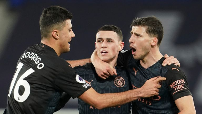Phil Foden celebrates breaking the deadlock for Man City after 32 minutes
