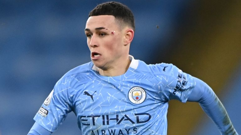 Manchester City's Phil Foden in action against Sheffield United