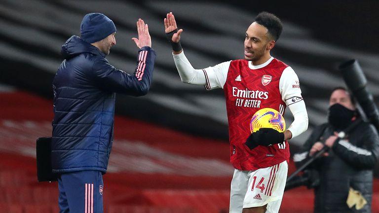 Pierre-Emerick Aubameyang scored his first Premier League hat-trick on Sunday