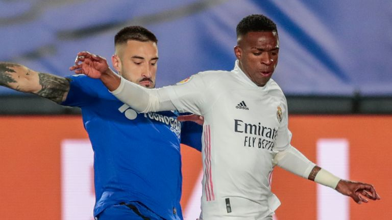 Vinicius Junior featured for Real Madrid during their win over Getafe