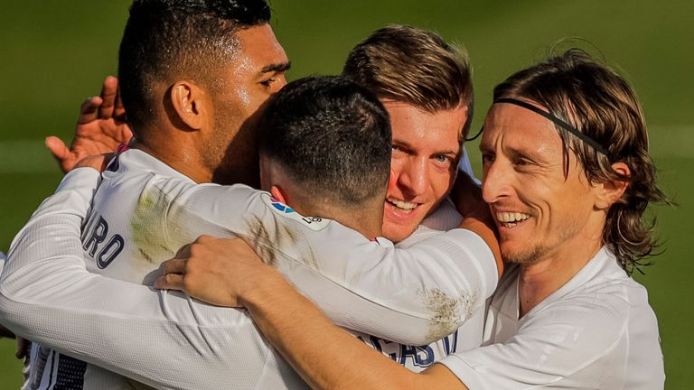 Real Madrid celebrate after scoring against Valencia