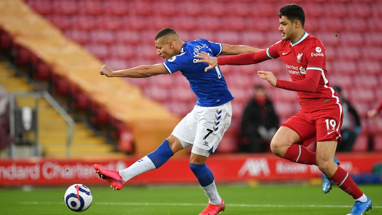 Richarlison fires Everton ahead early on at Anfield