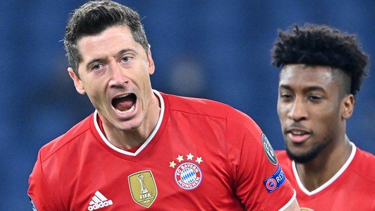 Robert Lewandowski celebrates after opening the scoring for Bayern Munich against Lazio