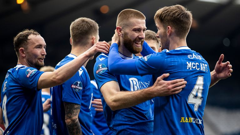 Shaun Rooney celebrates after his goal against Livingston