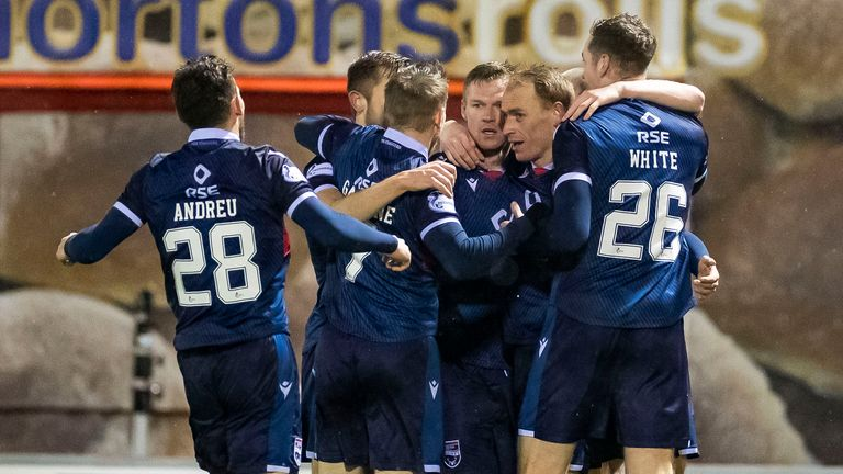 Ross County celebrate Billy McKay's late winner at Hamilton