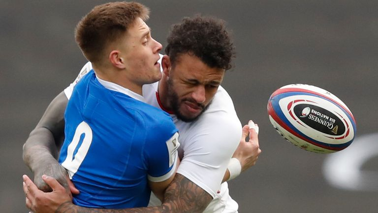 Italy's Stephen Varney is tackled by England's Courtney Lawes during the 2021 Six Nations