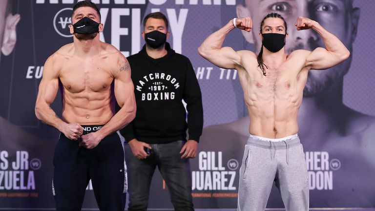 HANDOUT PICTURE COMPLIMENTS OF MATCHROOM BOXING.Florian Marku and Rylan Charlton Weigh In ahead of their Welterweight fight on saturday..19 February 2021.Picture By Mark Robinson
