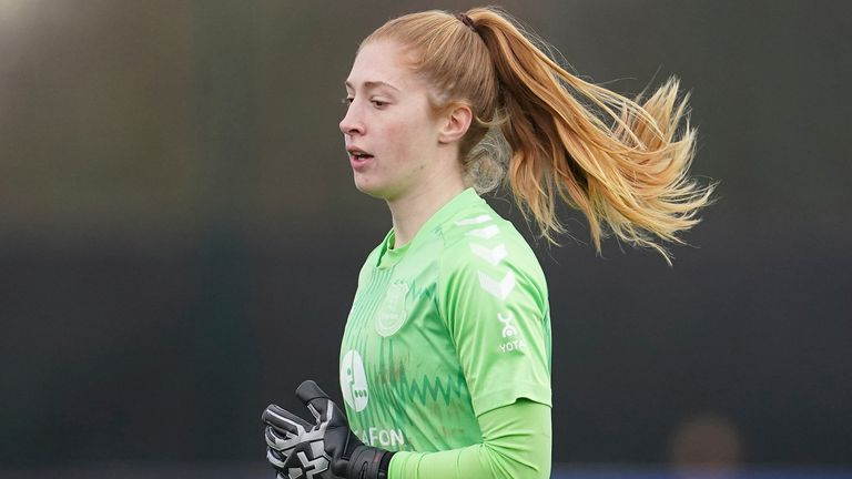 Everton Ladies goalkeeper Sandy MacIver during the FA WSL soccer match between Everton Ladies and Manchester City Women at Walton Hall Park Stadium, Liverpool, England, Sunday Dec. 6, 2020. (AP Photo/Jon Super)