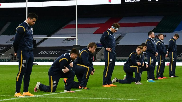 Only four of Scotland's players opted to take a knee before their Six Nations match against England at Twickenham on Saturday