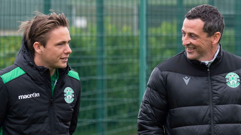 Scott Allan with Hibernian boss Jack Ross