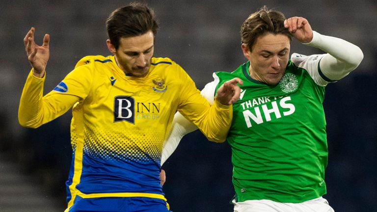 Scott Allan (right) returned to action at Hampden Park in a League Cup semi-final defeat to St Johnstone in January