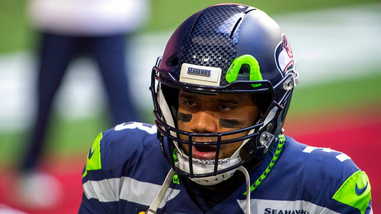 AP - Seattle Seahawks quarterback Russell Wilson (3) reacts on the field prior to an NFL football game