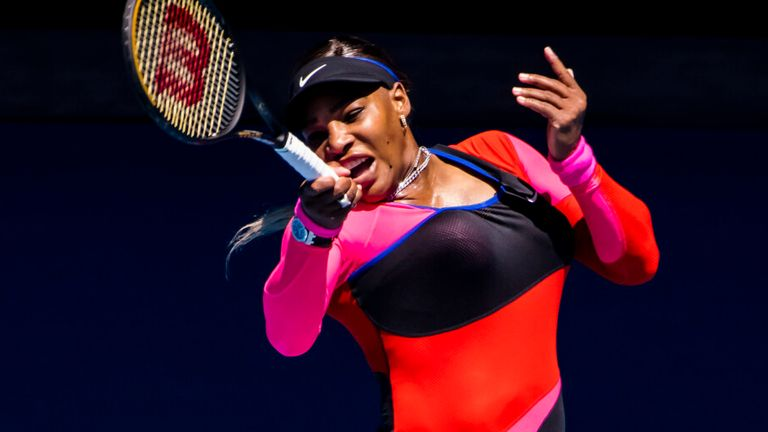 Williams' catsuit is inspired by former sprinter Florence Griffith Joyner (Photo by Jason Heidrich/Icon Sportswire) (Icon Sportswire via AP Images)