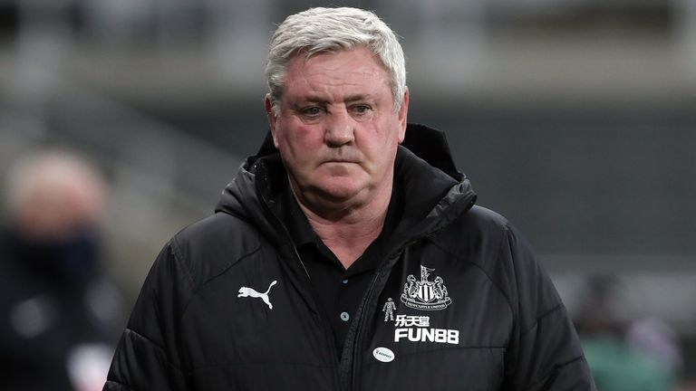 Newcastle United manager Steve Bruce during the Premier League match at St. James' Park, Newcastle. Picture date: Saturday February 27, 2021.