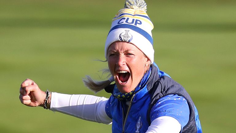 Pettersen celebrates after holing the winning putt at the 2019 Solheim Cup