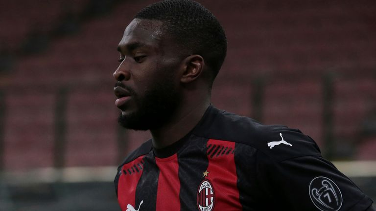 January 26, 2021, Milan, United Kingdom: Fikayo Tomori of AC Milan during the Coppa Italia match at Giuseppe Meazza, Milan. Picture date: 26th January 2021. Picture credit should read: Jonathan Moscrop/Sportimage(Credit Image: © Jonathan Moscrop/CSM via ZUMA Wire) (Cal Sport Media via AP Images)