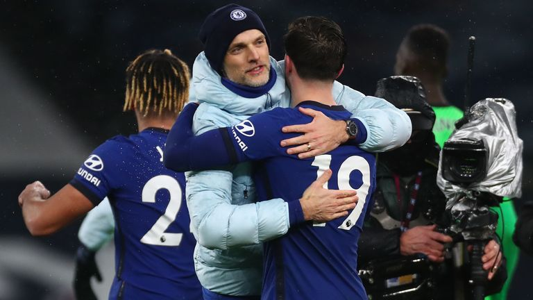 Thomas Tuchel embraced Mason Mount at full-time after Chelsea beat Spurs 1-0